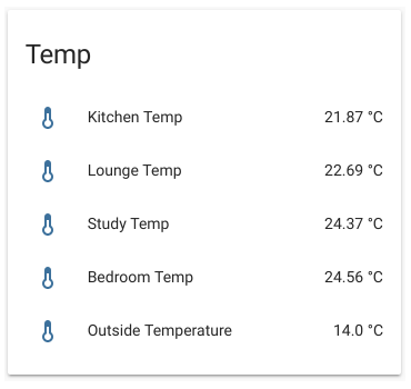 Home Assistant Temperature Sensors